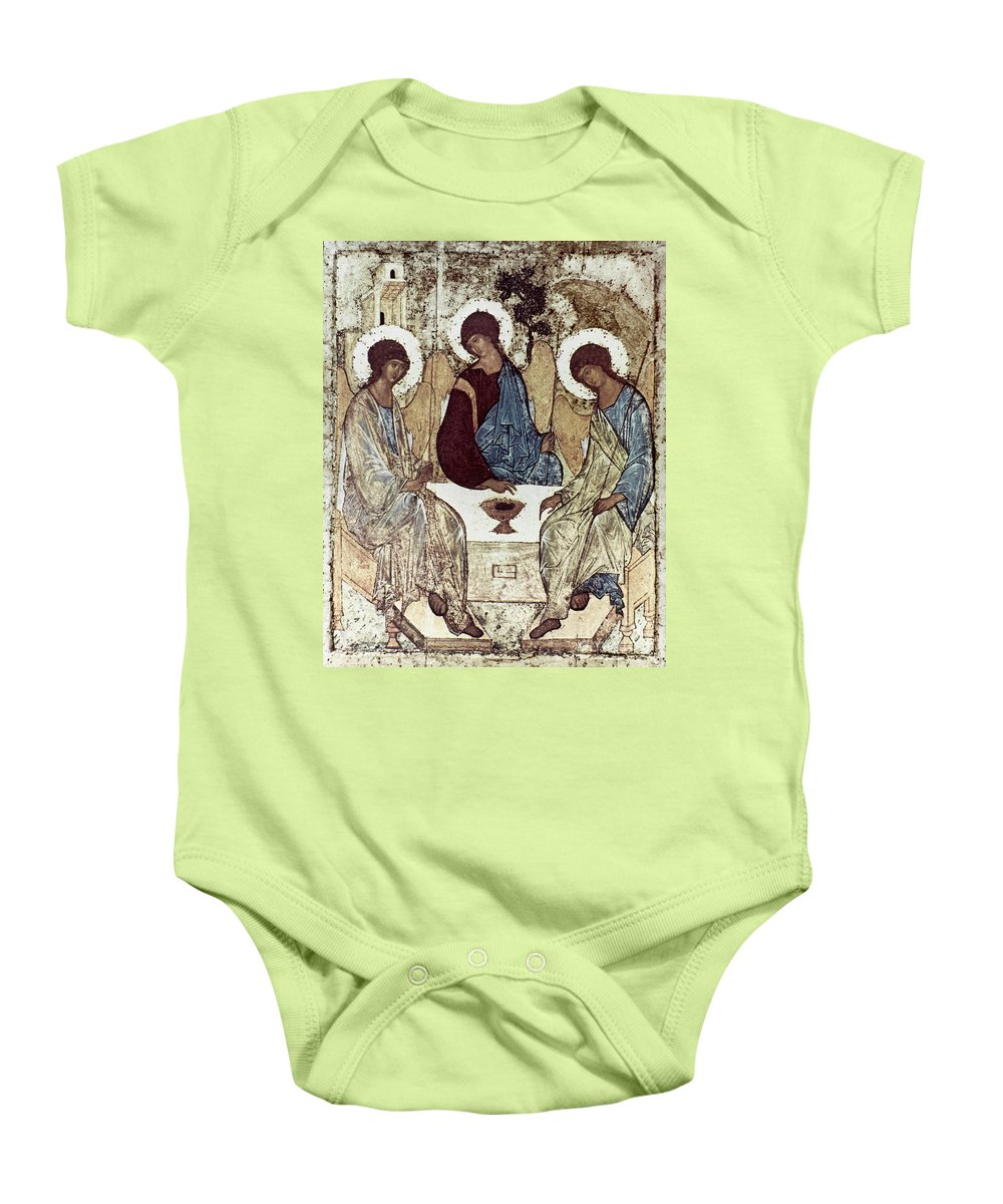 15th Century Baby Onesie featuring the photograph Russian Icons: The Trinity by Granger