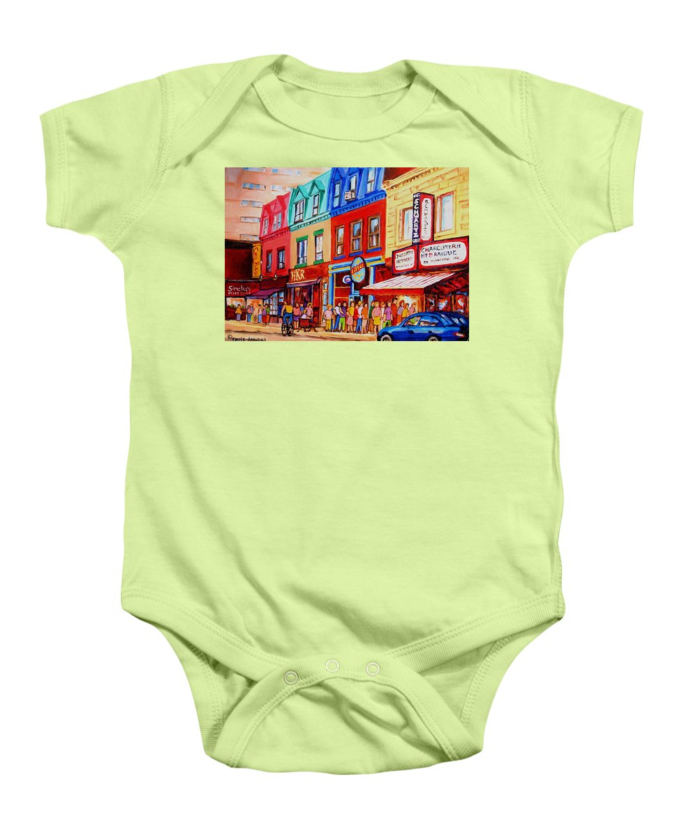Cityscape Baby Onesie featuring the painting Schwartz Lineup With Simcha by Carole Spandau