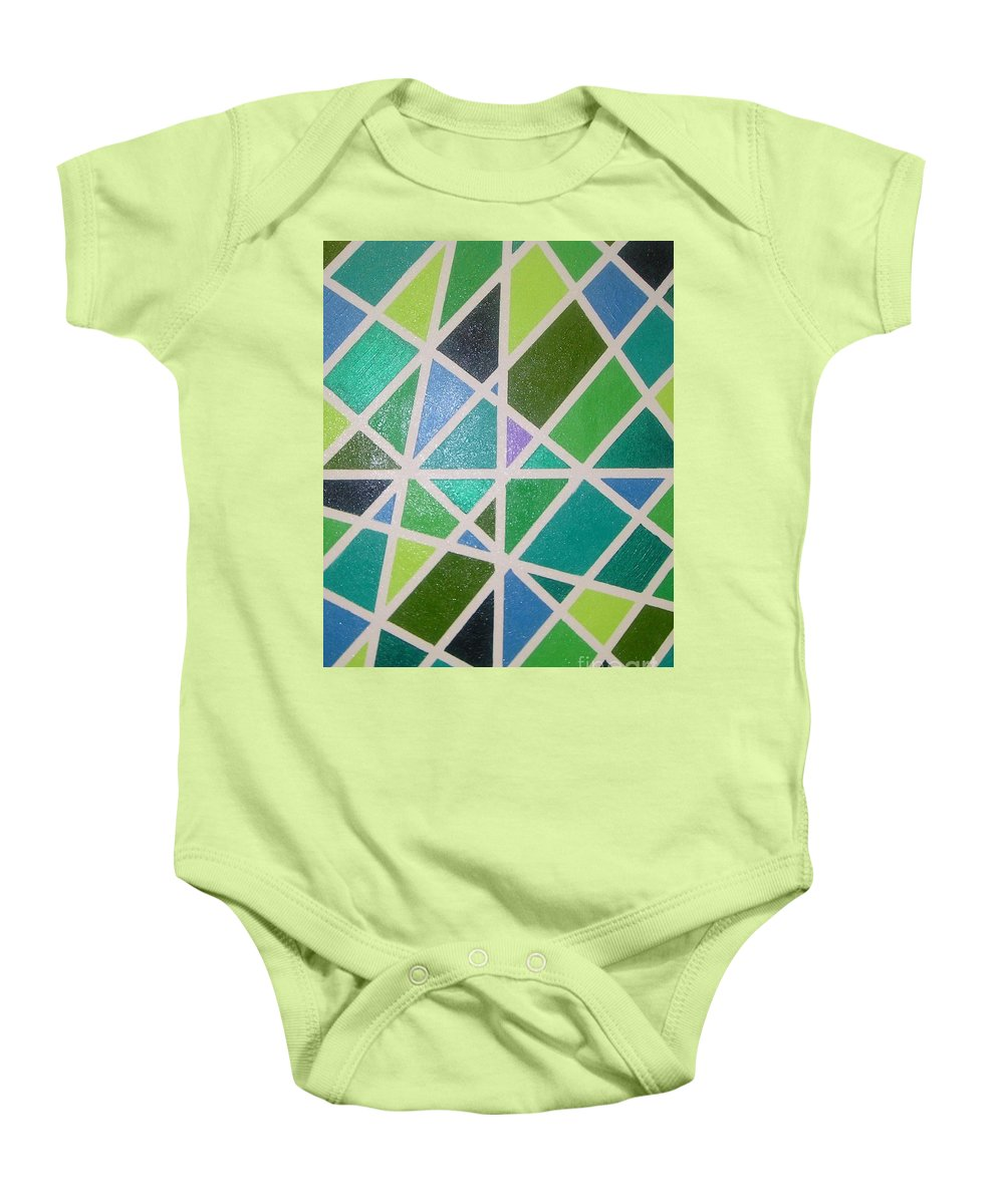 Green Baby Onesie featuring the painting Sea Glass Revisited by Maria Bonnier-Perez
