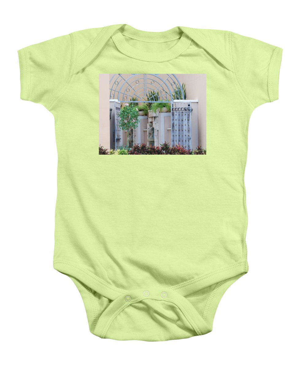 Architecture Baby Onesie featuring the photograph Seahorse Fountian by Rob Hans