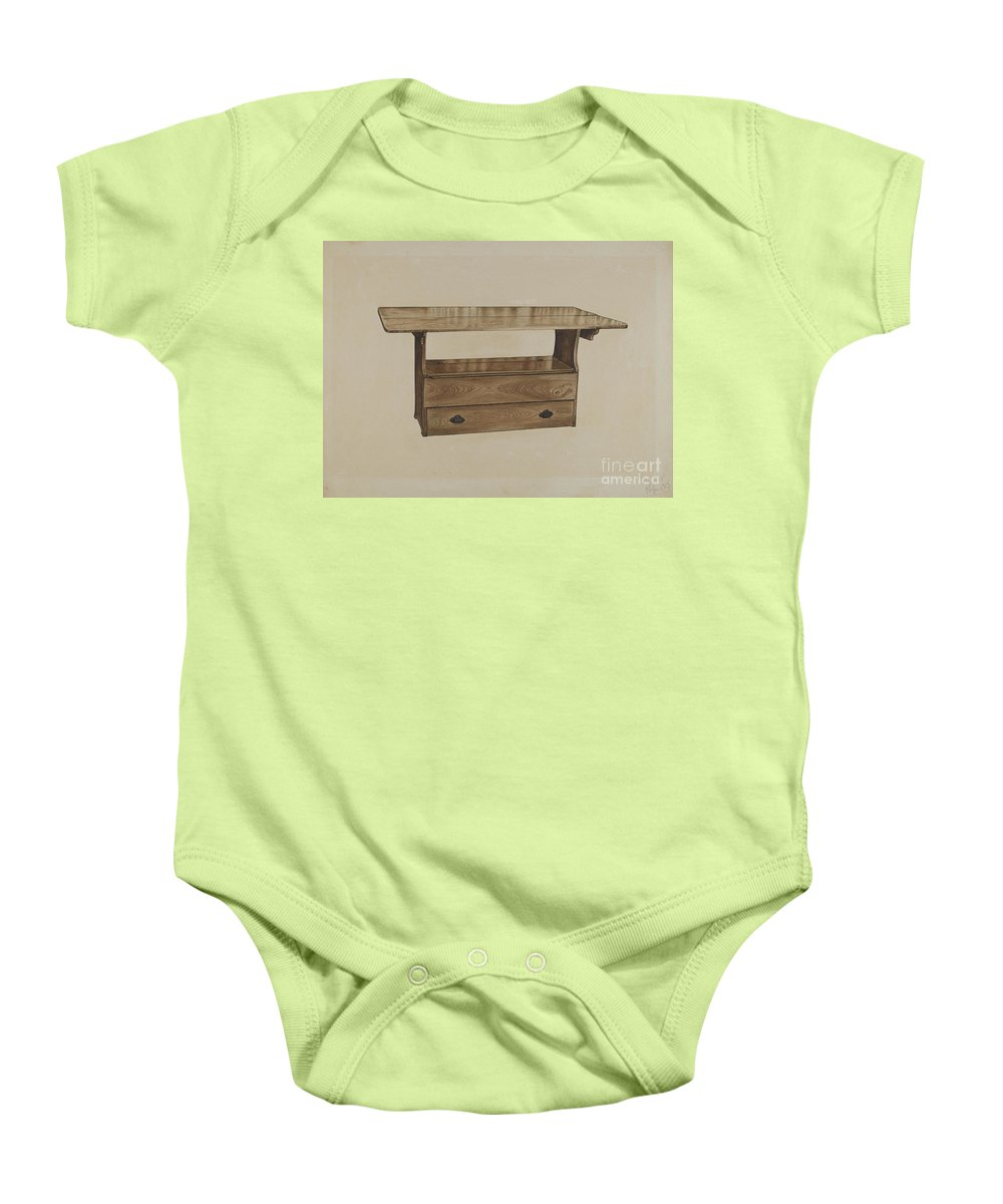 Baby Onesie featuring the drawing Seat Table by Paul Poffinbarger