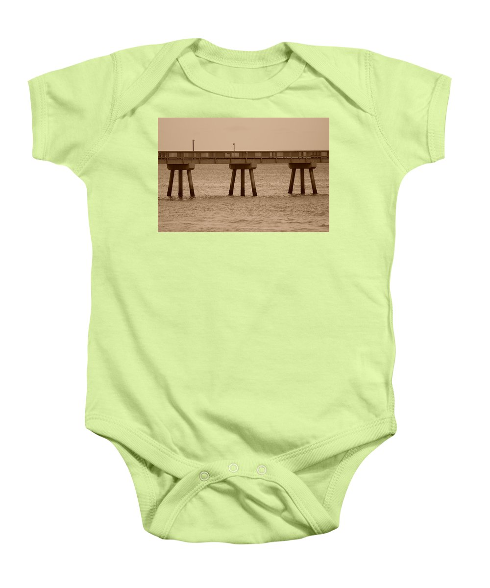 Sepia Baby Onesie featuring the photograph Sepia Pier by Rob Hans