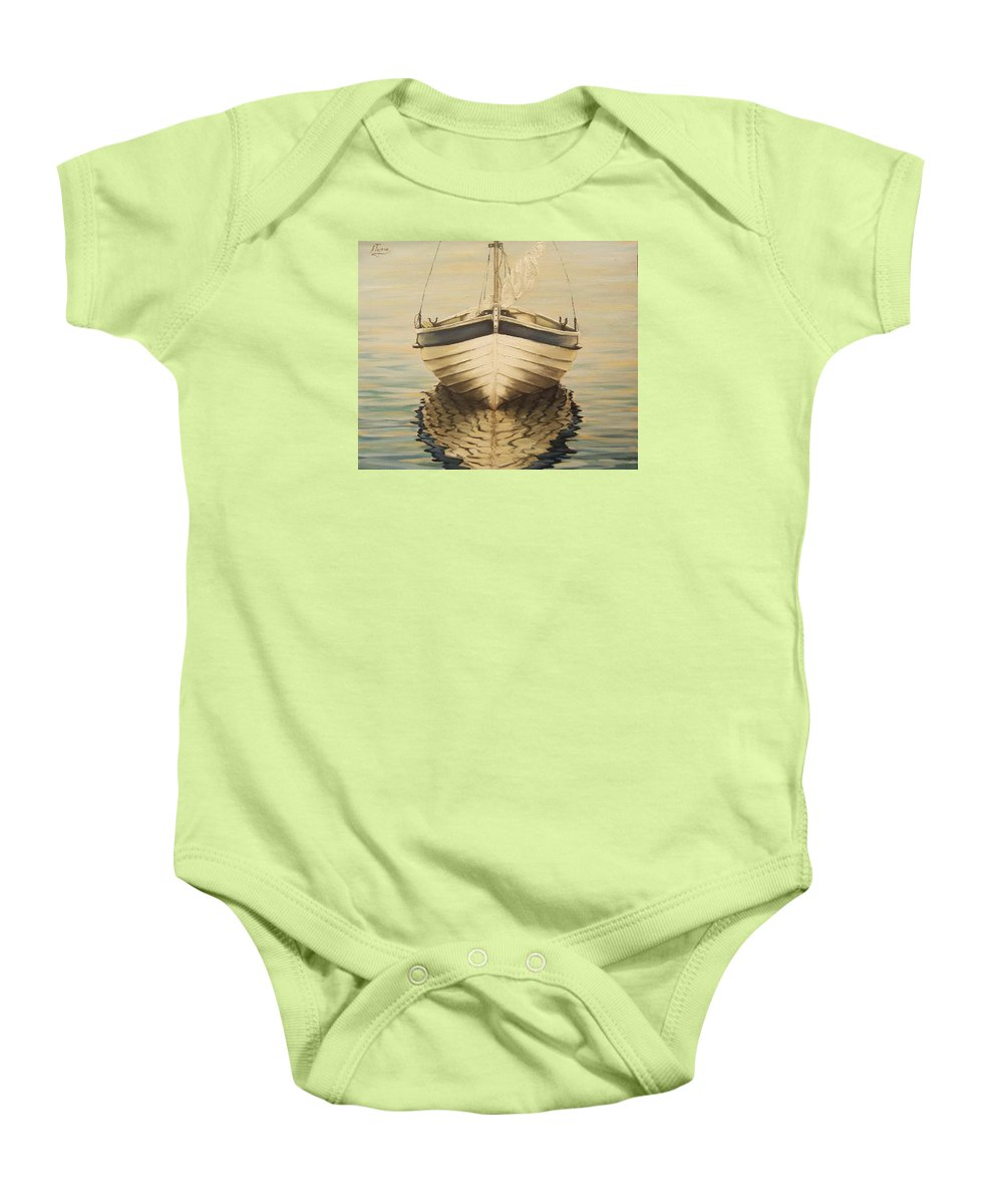 Seascape Baby Onesie featuring the painting Serenity by Natalia Tejera