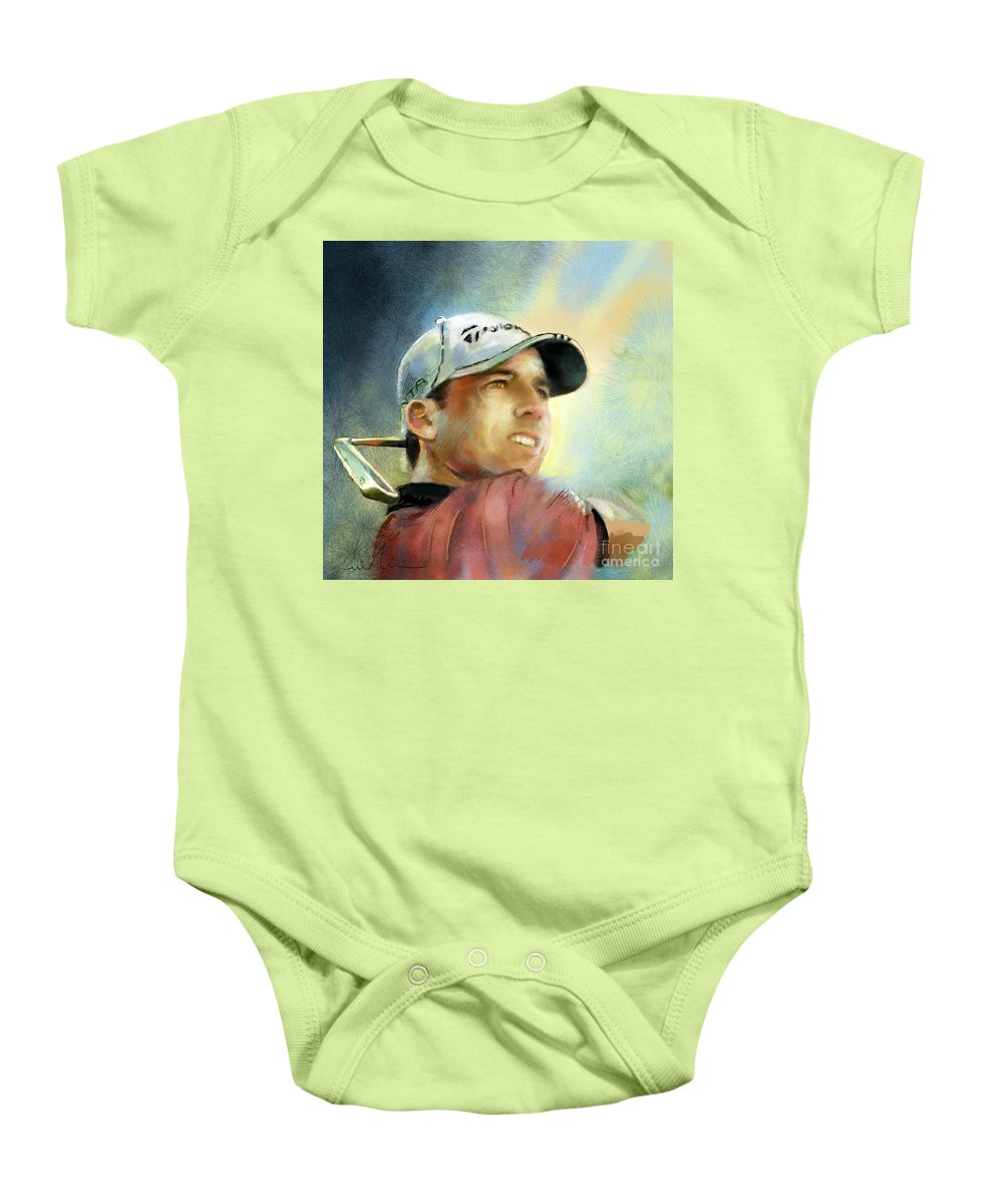 Golf Painting Golfart Castello Masters Spian Sport Baby Onesie featuring the painting Sergio Garcia In The Castello Masters by Miki De Goodaboom
