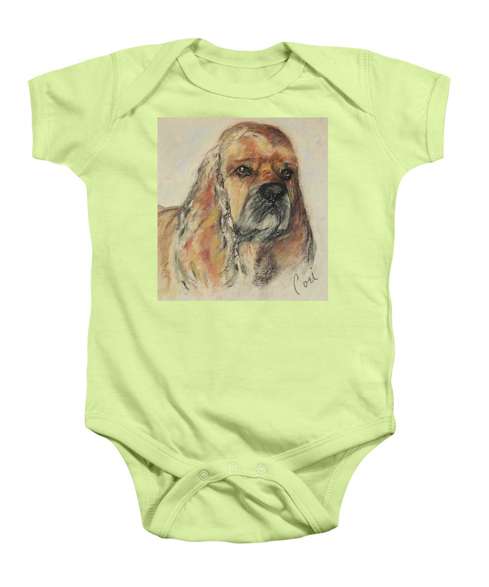 Dog Baby Onesie featuring the drawing Serious Intent by Cori Solomon