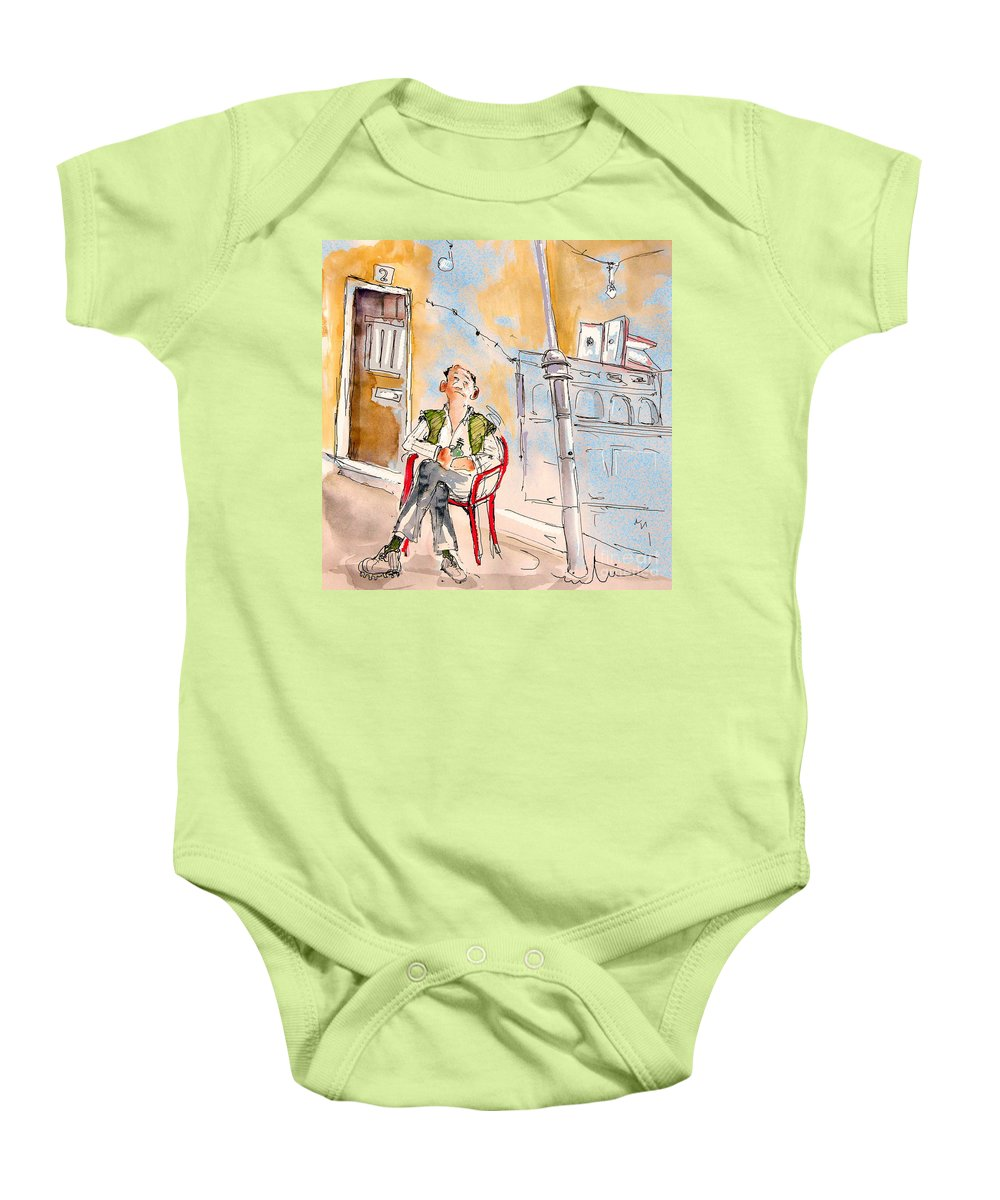Water Colour Aquarelle Drawings Caricatures From People In Serpa Portugal By Miki Baby Onesie featuring the painting Serpa Portugal 33 by Miki De Goodaboom
