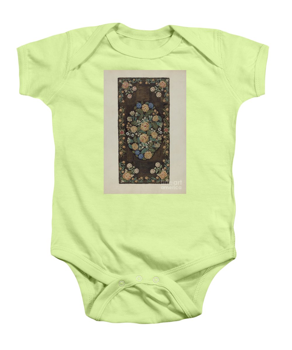 """Baby Onesie featuring the drawing Sewed """"caterpillar"""" Rug by Marion Curtiss"""