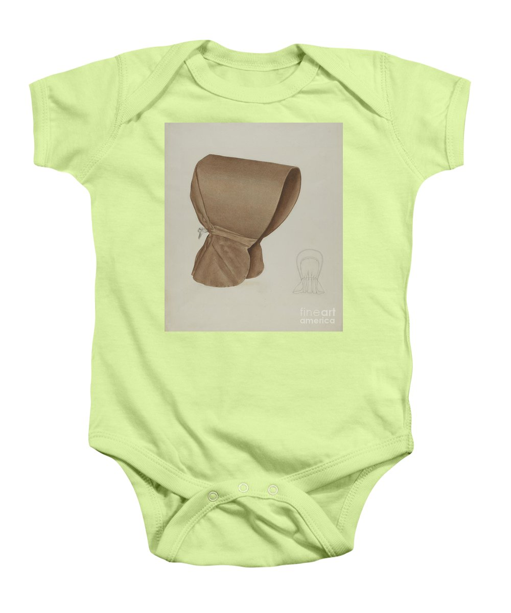 Baby Onesie featuring the drawing Shaker Bonnet by Elizabeth Moutal