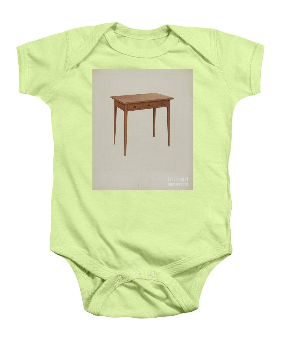 Baby Onesie featuring the drawing Shaker Table by John W. Kelleher