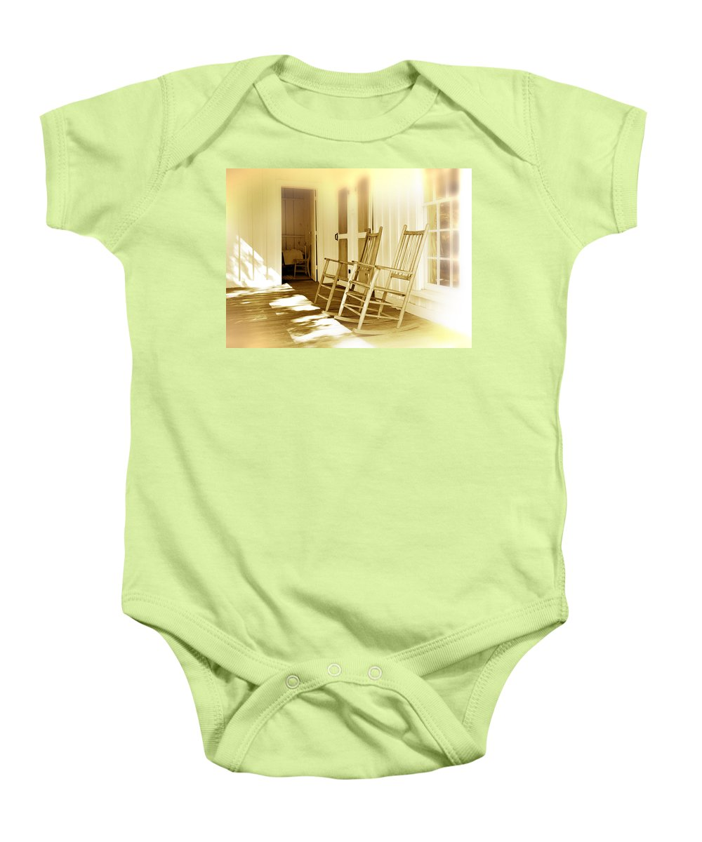 Porch Baby Onesie featuring the photograph Shared Moments by Mal Bray
