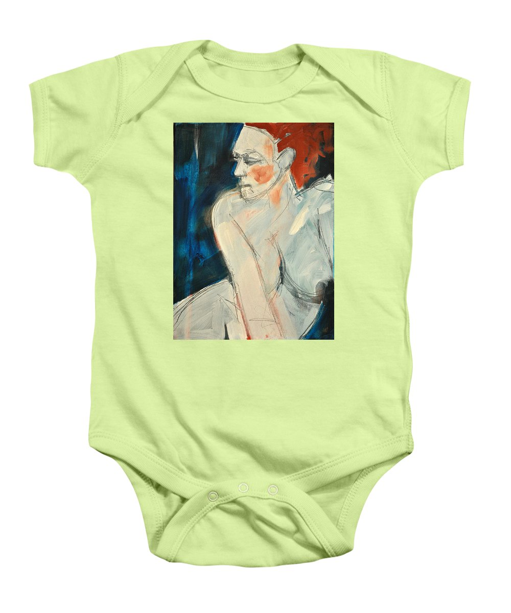 Nude Baby Onesie featuring the painting She Wakes by Tim Nyberg