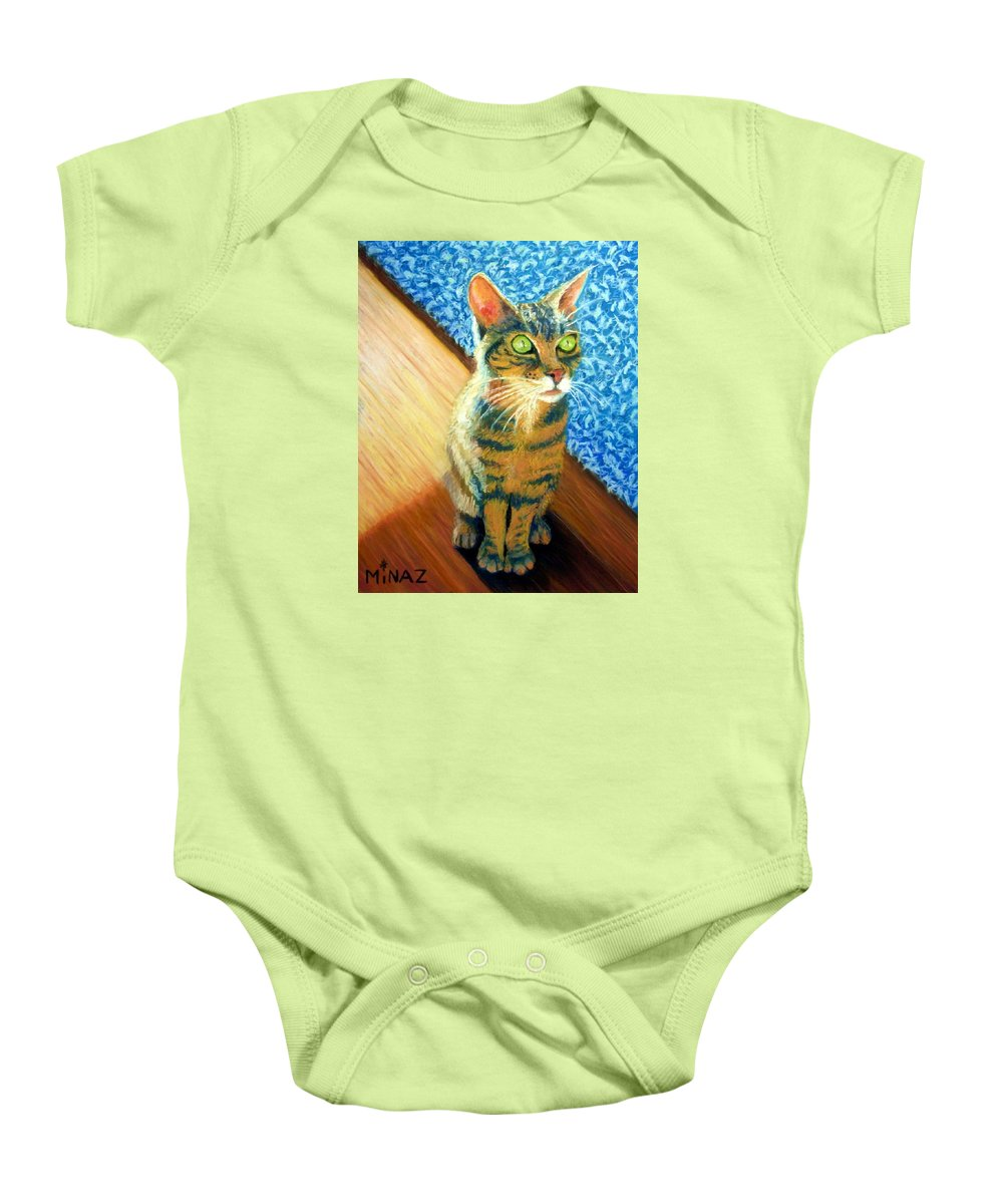 Cat Baby Onesie featuring the painting She Wants To Be Famous by Minaz Jantz
