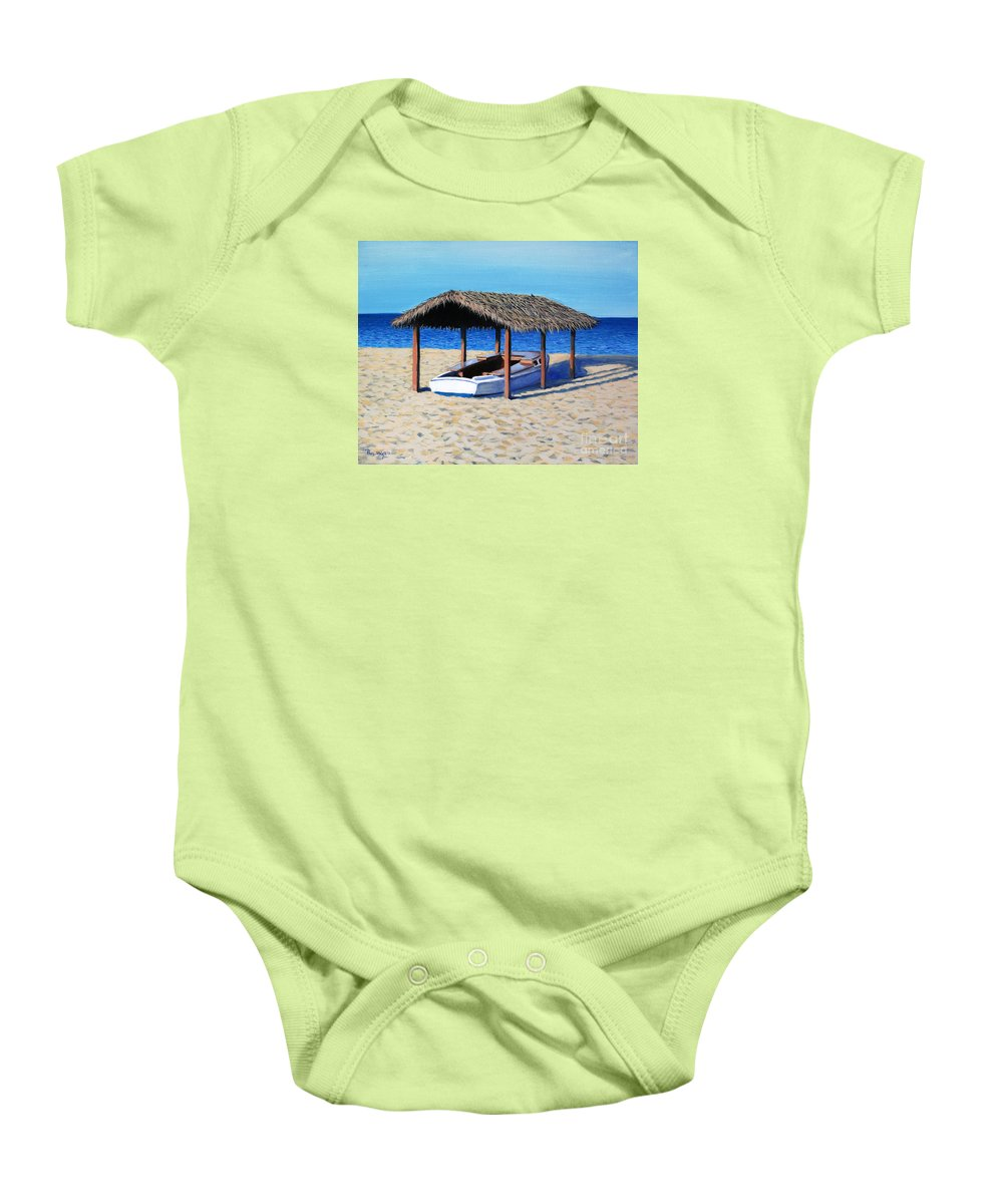 Boat Baby Onesie featuring the painting Sheltered Boat by Paul Walsh