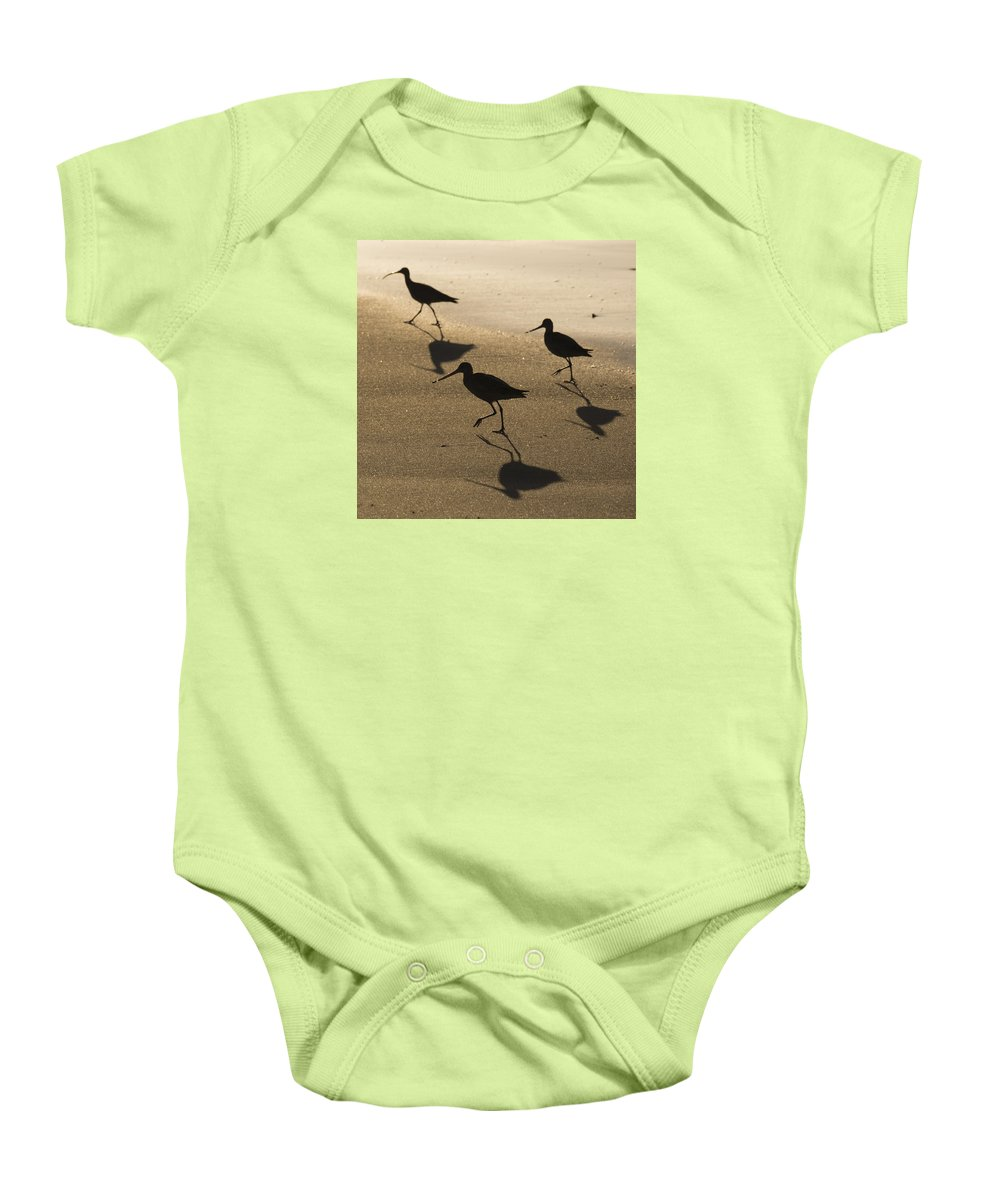 Birds Baby Onesie featuring the photograph Shorebird Silhouettes by Bruce Frye