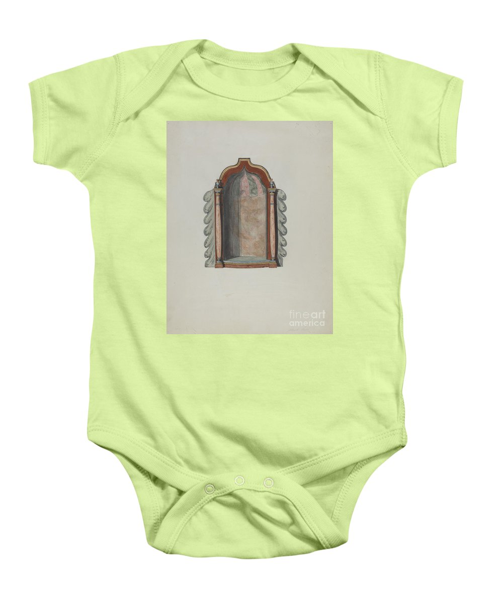 Baby Onesie featuring the drawing Shrine For Statuette by Albert Pratt