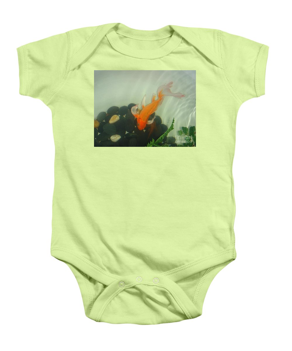 Orange Baby Onesie featuring the photograph Siamese Fighting Fish 1 by Mary Deal
