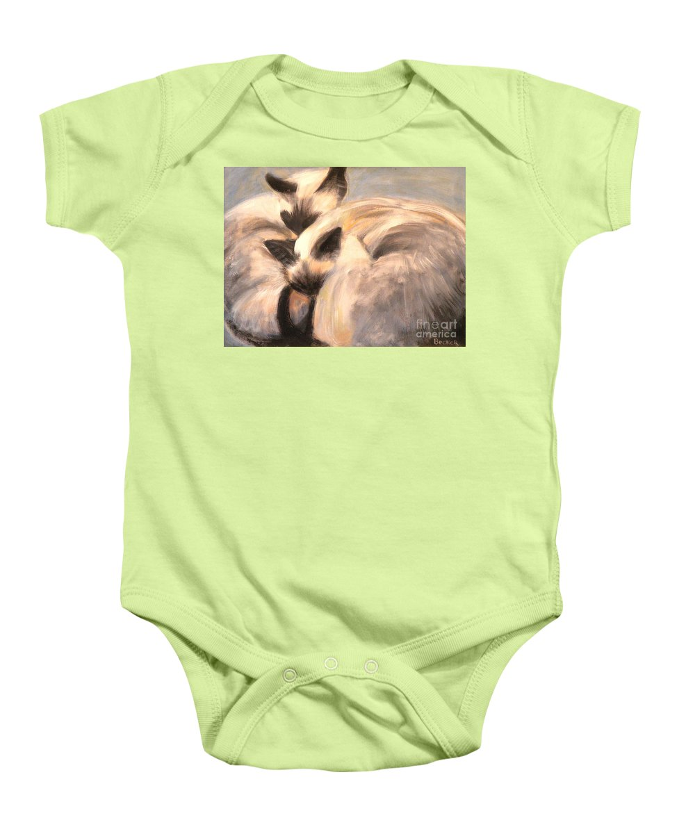 Cat Baby Onesie featuring the painting Siamese Lovers by Susan A Becker