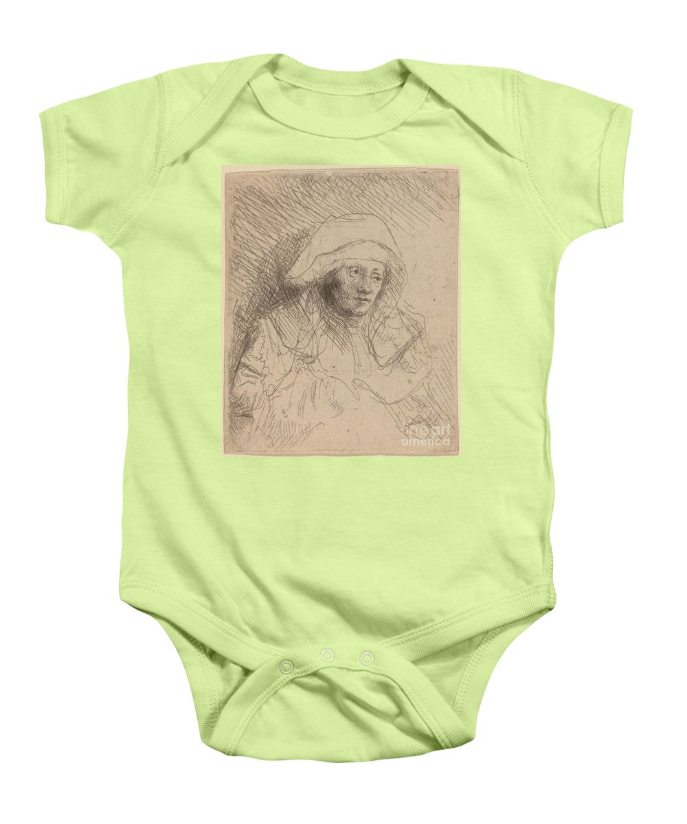 Baby Onesie featuring the drawing Sick Woman With A Large White Headdress (saskia) by Rembrandt Van Rijn