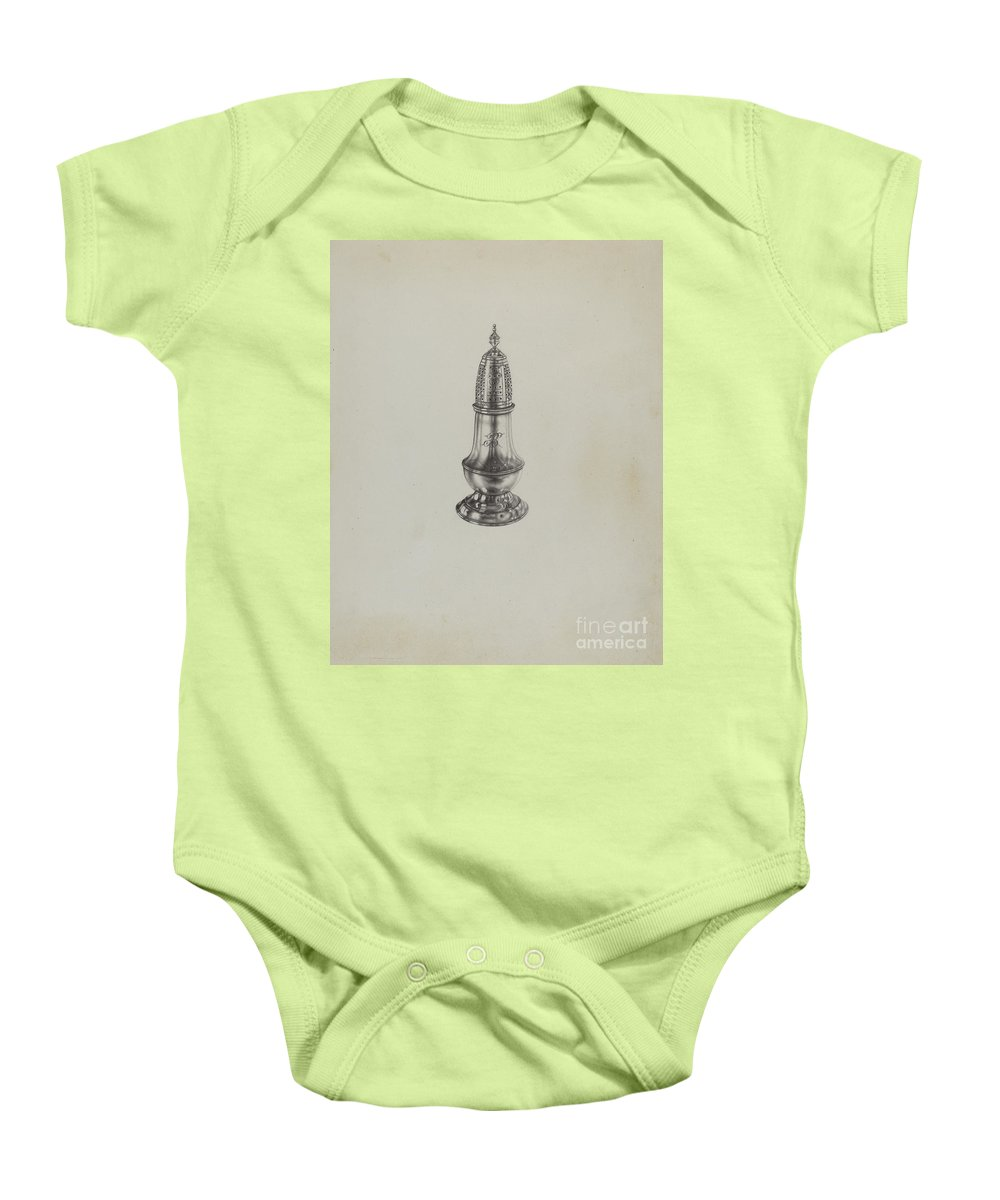 Baby Onesie featuring the drawing Silver Caster by Dorothy Dwin