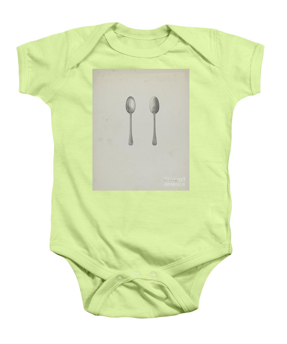 Baby Onesie featuring the drawing Silver Teaspoon by David P Willoughby