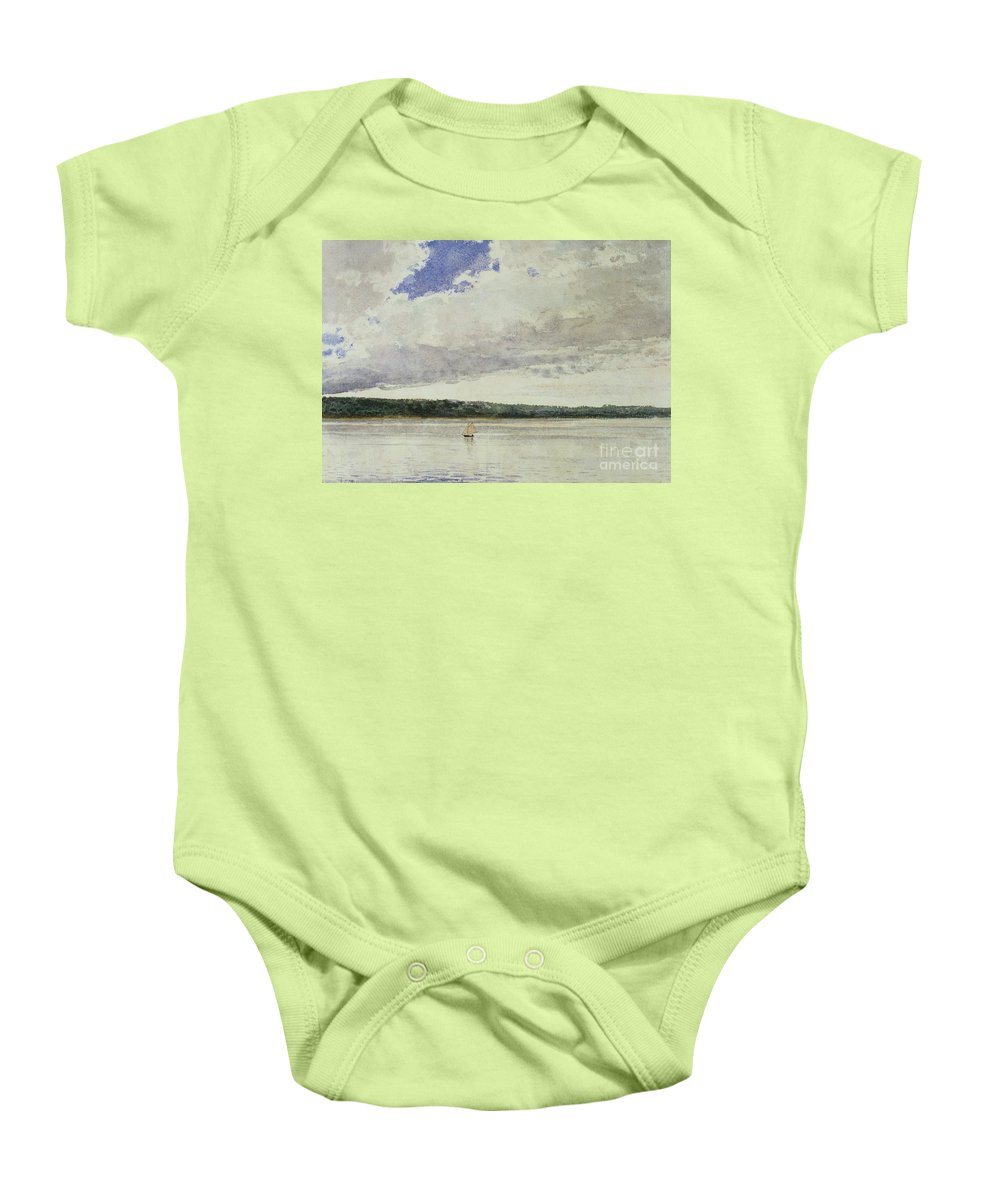 Small Sloop On Saco Bay (w/c On Paper)seascape; Vessel; Boat; Sea; Maine; New England Region; Solitary; Boat Baby Onesie featuring the painting Small Sloop On Saco Bay by Winslow Homer