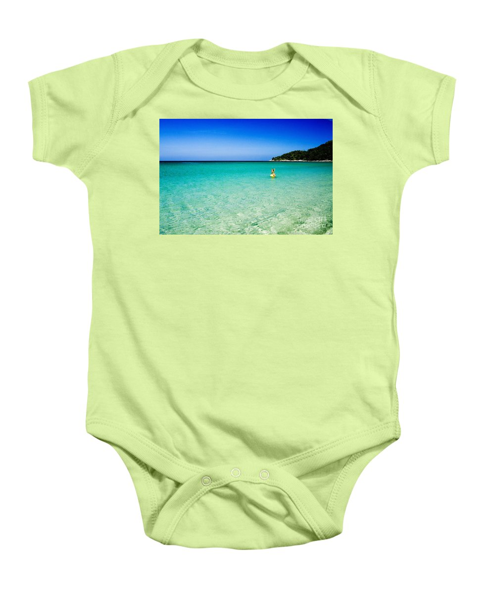 Active Baby Onesie featuring the photograph Snorkeling At Karon Beach by Bill Brennan - Printscapes
