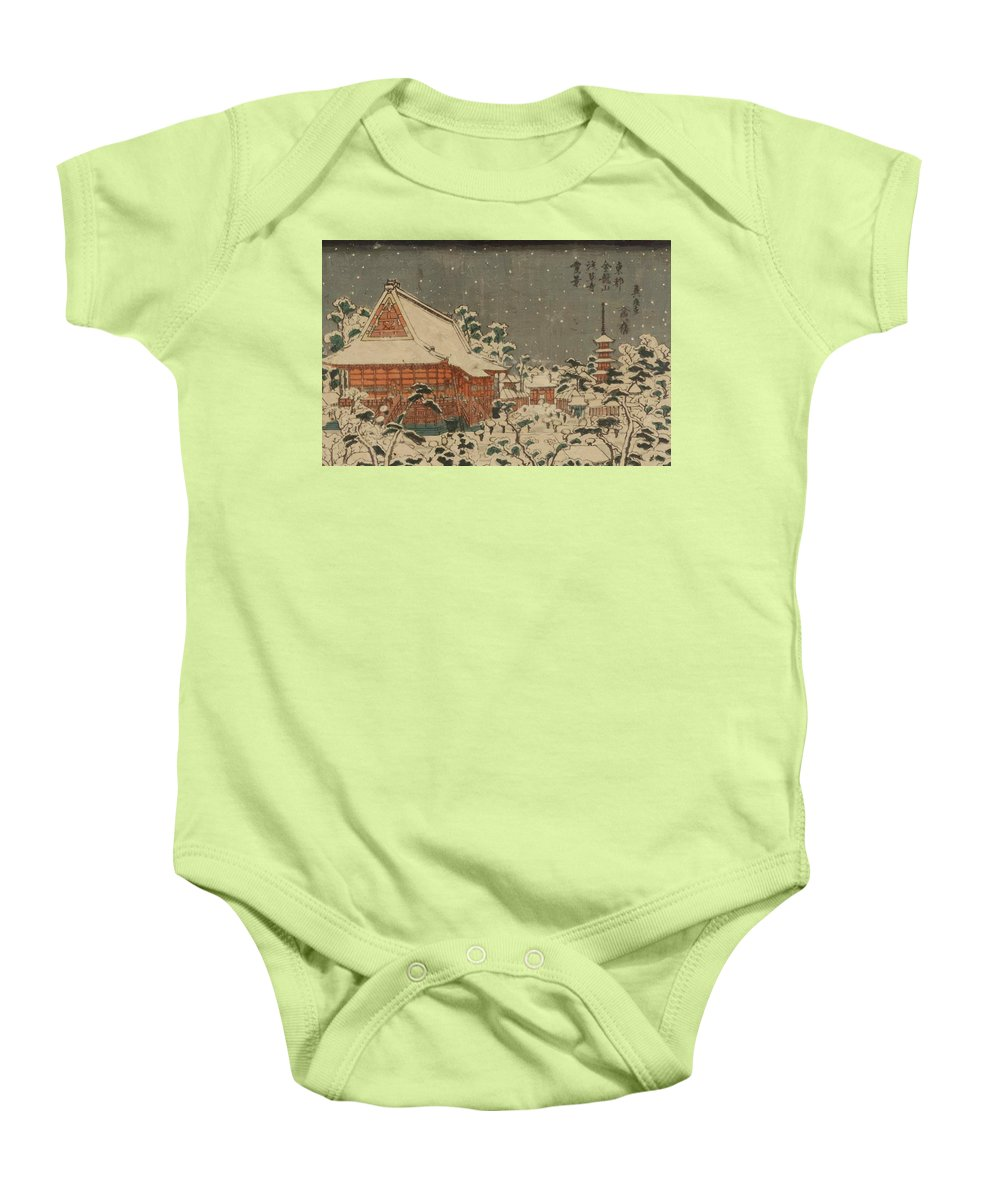 Snow Baby Onesie featuring the painting Snow Scene At Sens Ji Temple At Kinry Zan In The Eastern Capital by Eisen Keisai