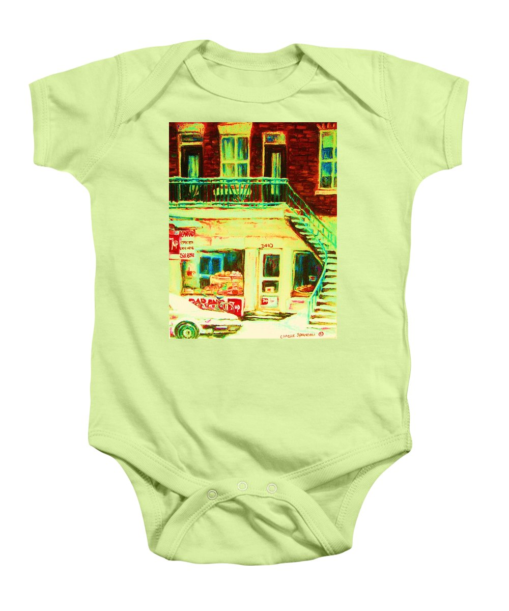 Staircases Baby Onesie featuring the painting Snowcovered Steps by Carole Spandau