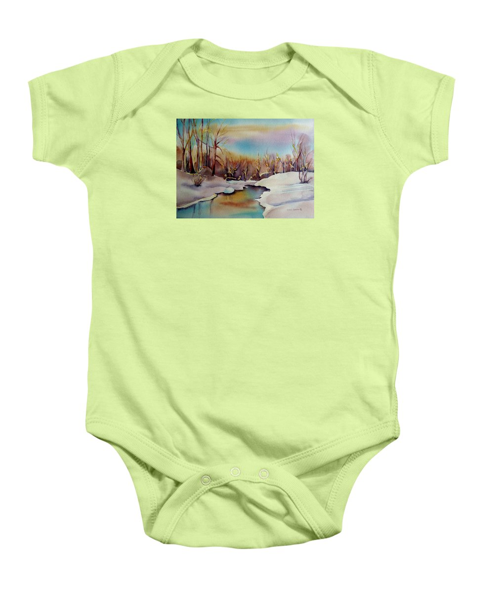 Winterscene Baby Onesie featuring the painting Snowfall by Carole Spandau