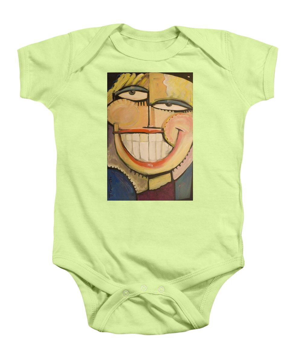 Sunny Baby Onesie featuring the painting Sonny Sunny by Tim Nyberg