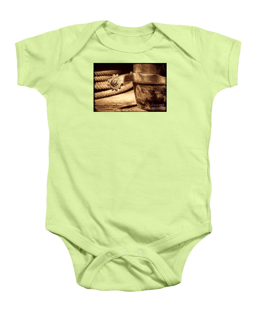 Rodeo Baby Onesie featuring the photograph Spur by American West Legend By Olivier Le Queinec