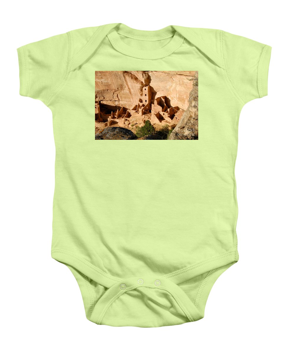 Square Tower Baby Onesie featuring the photograph Square Tower Ruin by David Lee Thompson