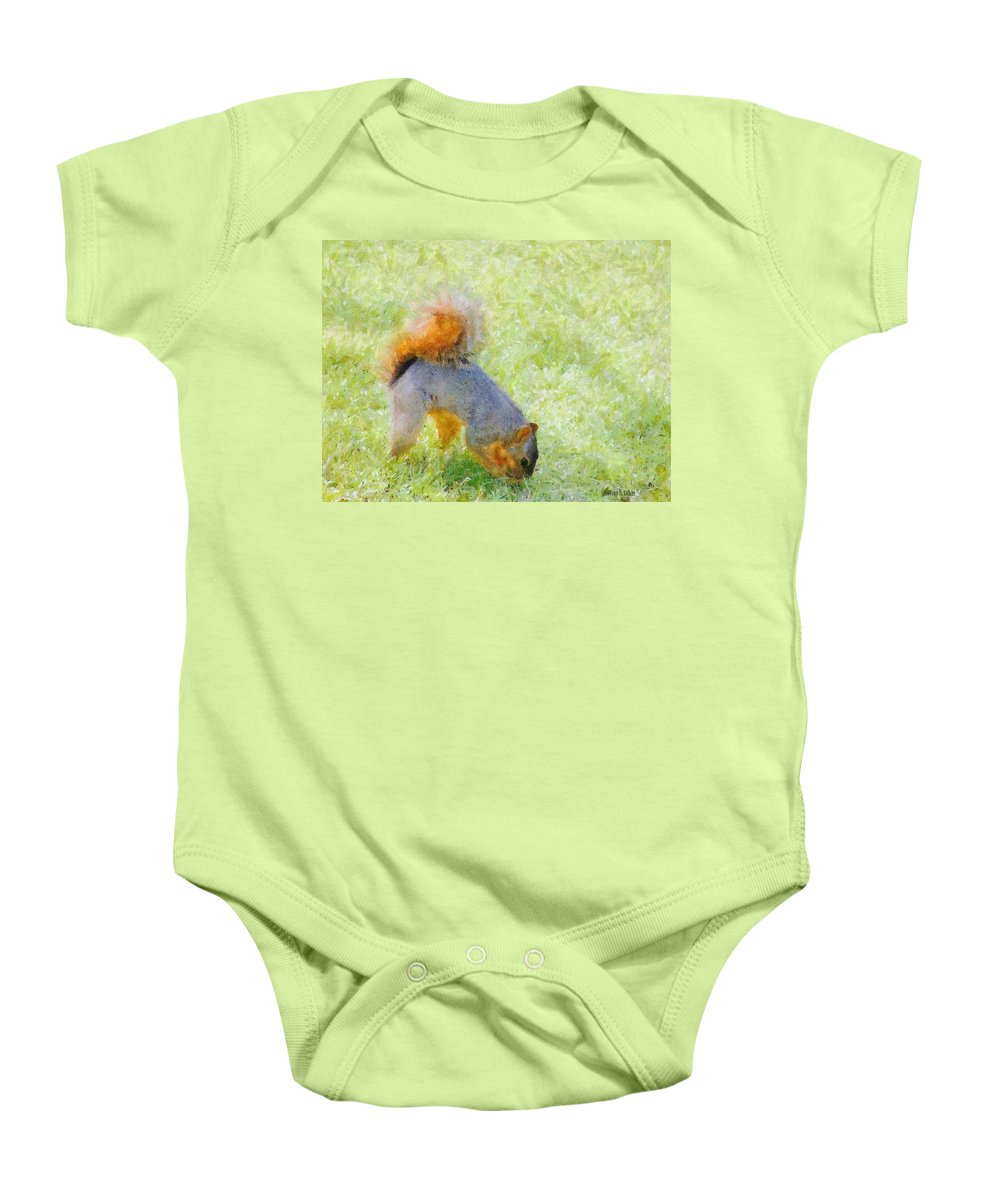Squirrel Baby Onesie featuring the painting Squirrelly by Jeffrey Kolker