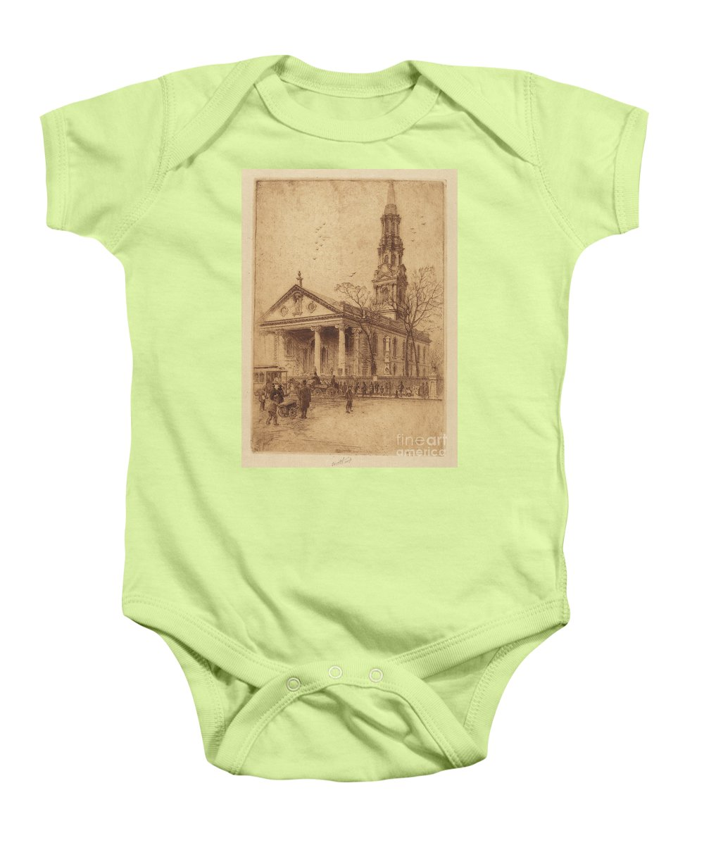 Baby Onesie featuring the drawing St. Paul's, Broadway, N.y. by Charles Frederick William Mielatz
