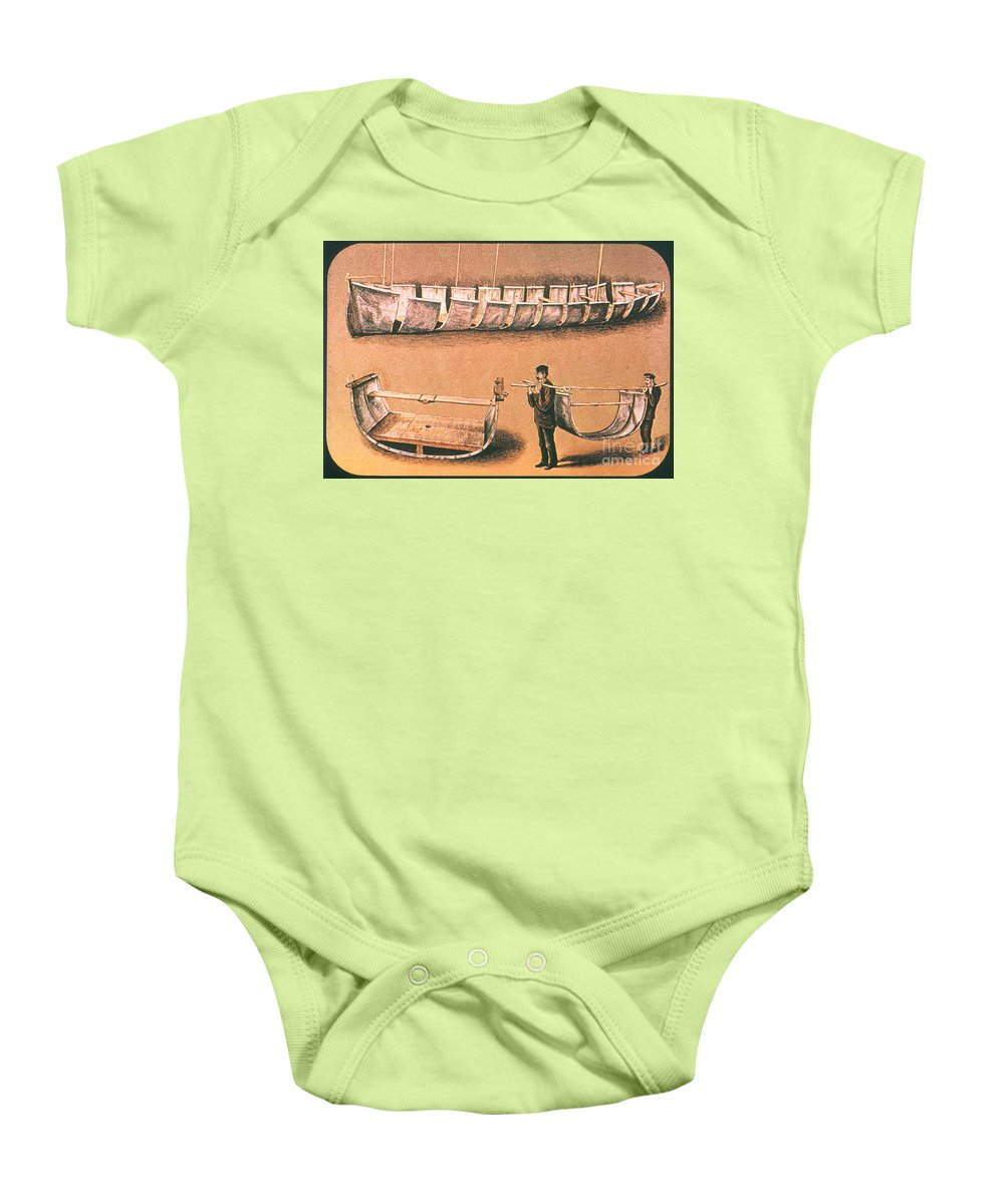 1874 Baby Onesie featuring the painting Stanleys Portable Boat by Granger
