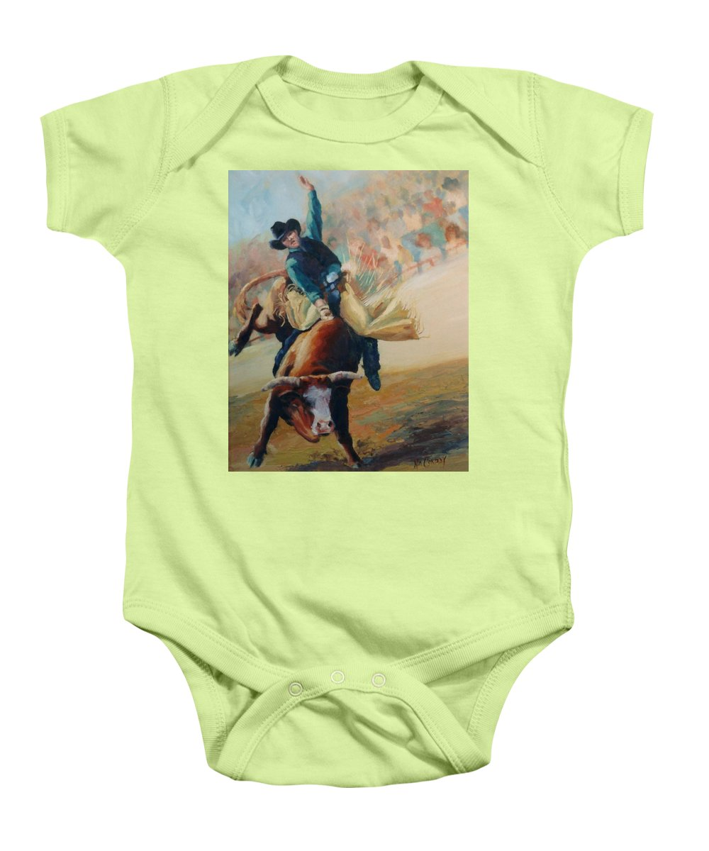 Bull Baby Onesie featuring the painting Staying In The Middle Rodeo Bucking Bull by Kim Corpany