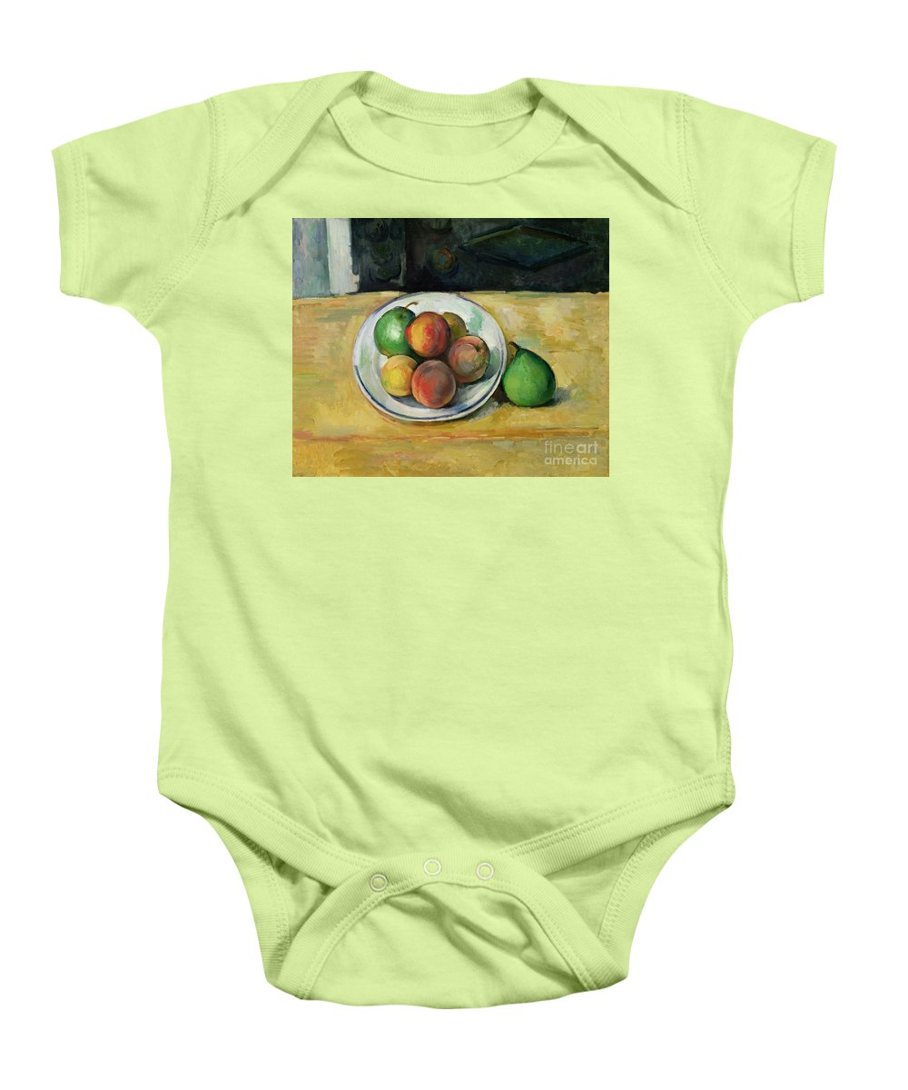 Still Baby Onesie featuring the painting Still Life With A Peach And Two Green Pears by Paul Cezanne