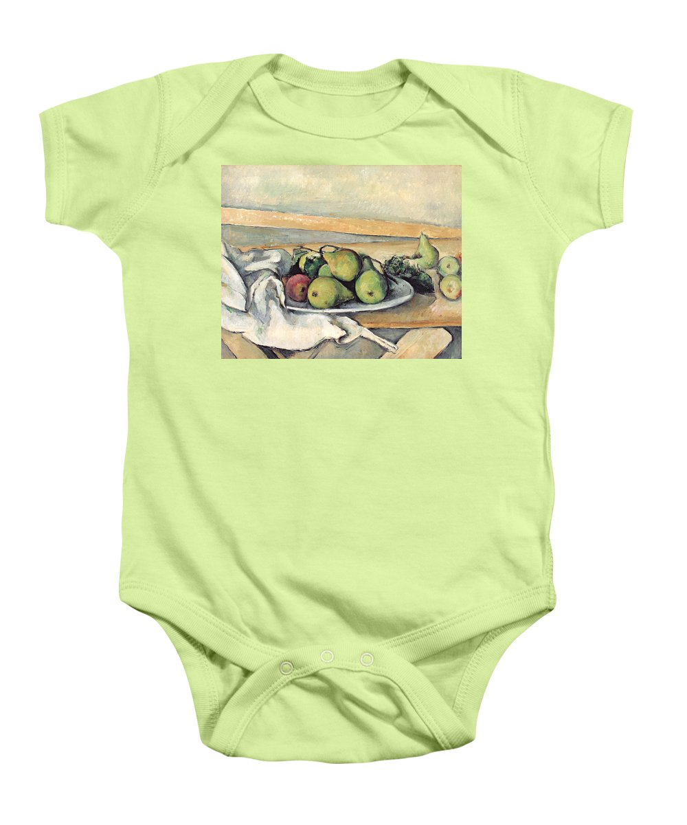 Still Baby Onesie featuring the painting Still Life With Pears by Paul Cezanne