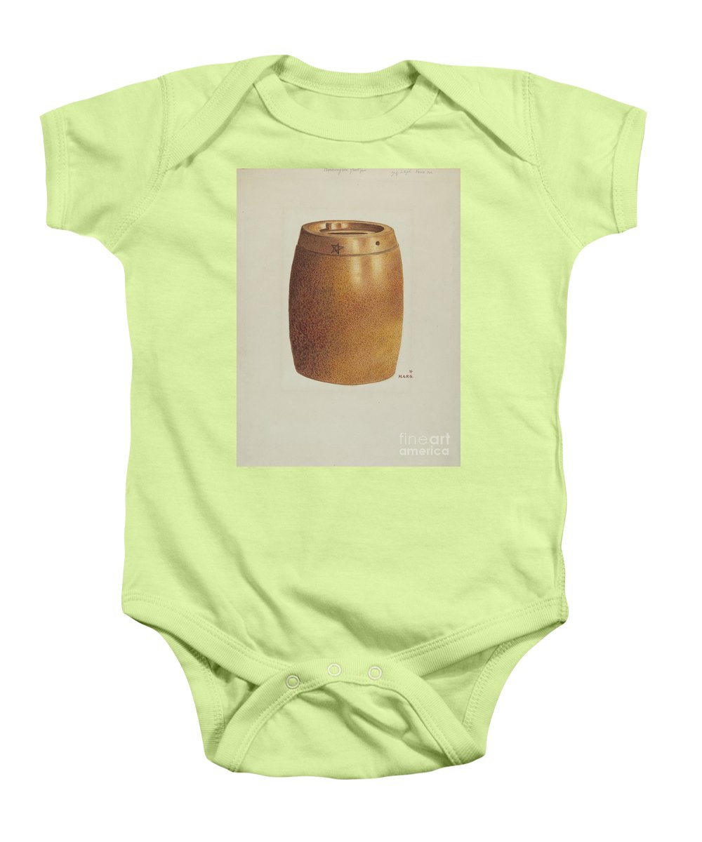 Baby Onesie featuring the drawing Stone Fruit Jar With Star by Margaret Stottlemeyer
