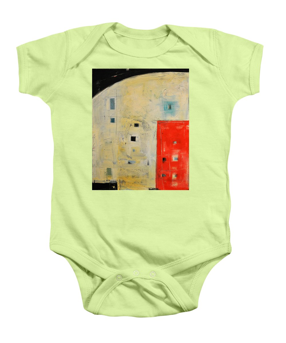 Abstract Baby Onesie featuring the painting Storage Shed by Tim Nyberg