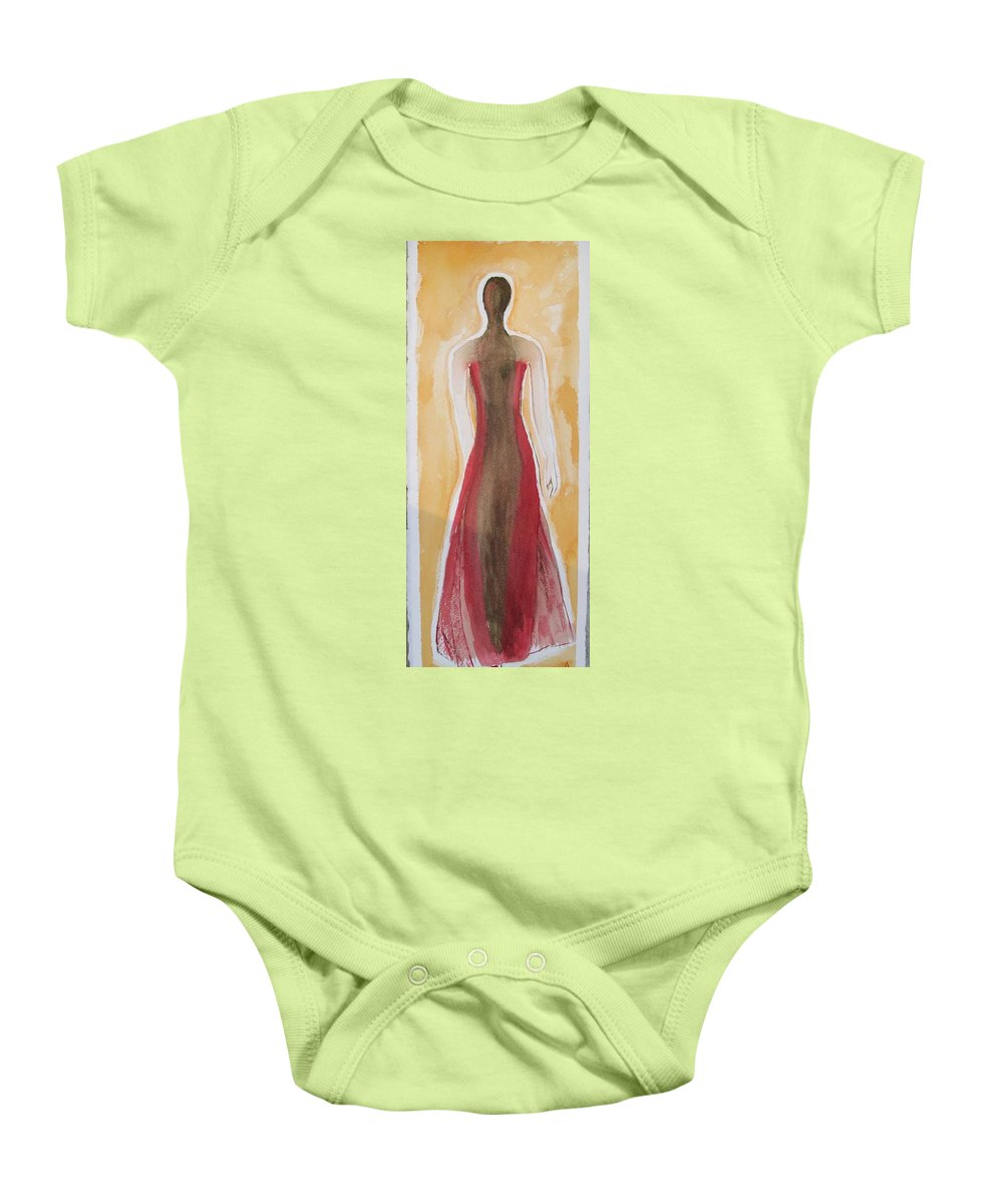 Dress Lady Red Yellow Fashion Baby Onesie featuring the painting Stranger by Patricia Caldwell