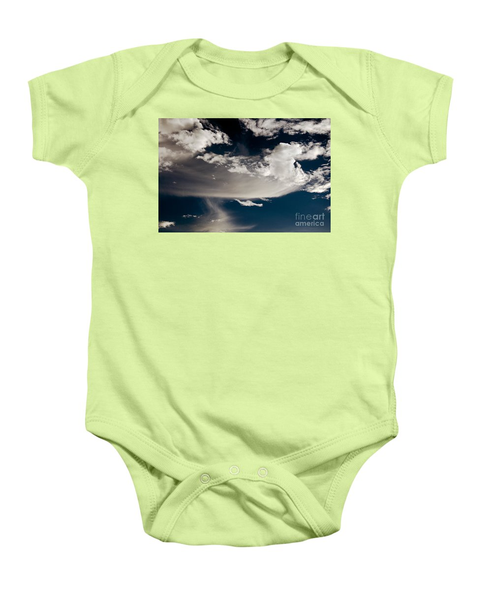Clay Baby Onesie featuring the photograph Streakin' Cloud by Clayton Bruster