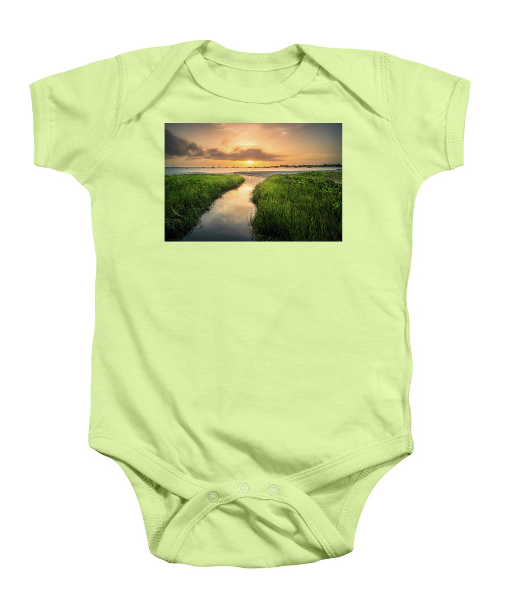 Brownes Beach Baby Onesie featuring the photograph Stream To The Sea by Andre Donawa