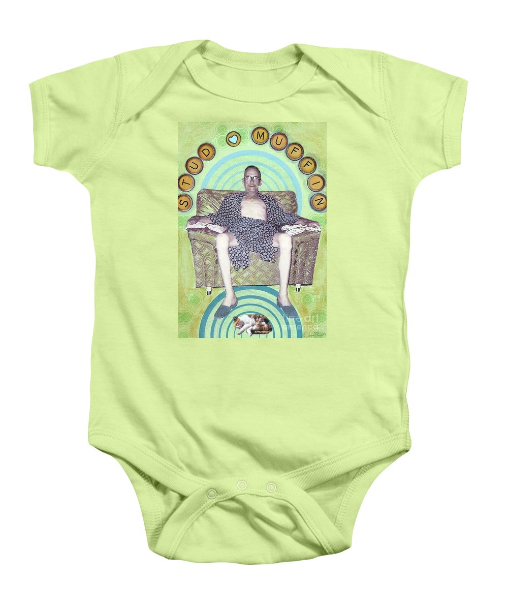 Vintage Baby Onesie featuring the mixed media Stud Muffin by Desiree Paquette