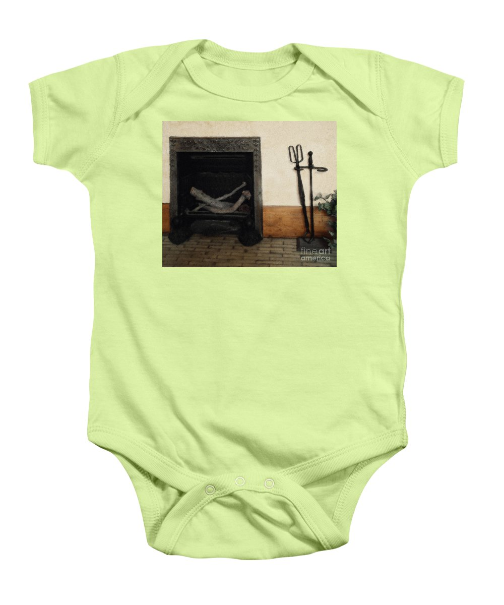 Fireplace Baby Onesie featuring the painting Study In Iron, Wood And Stone by RC deWinter