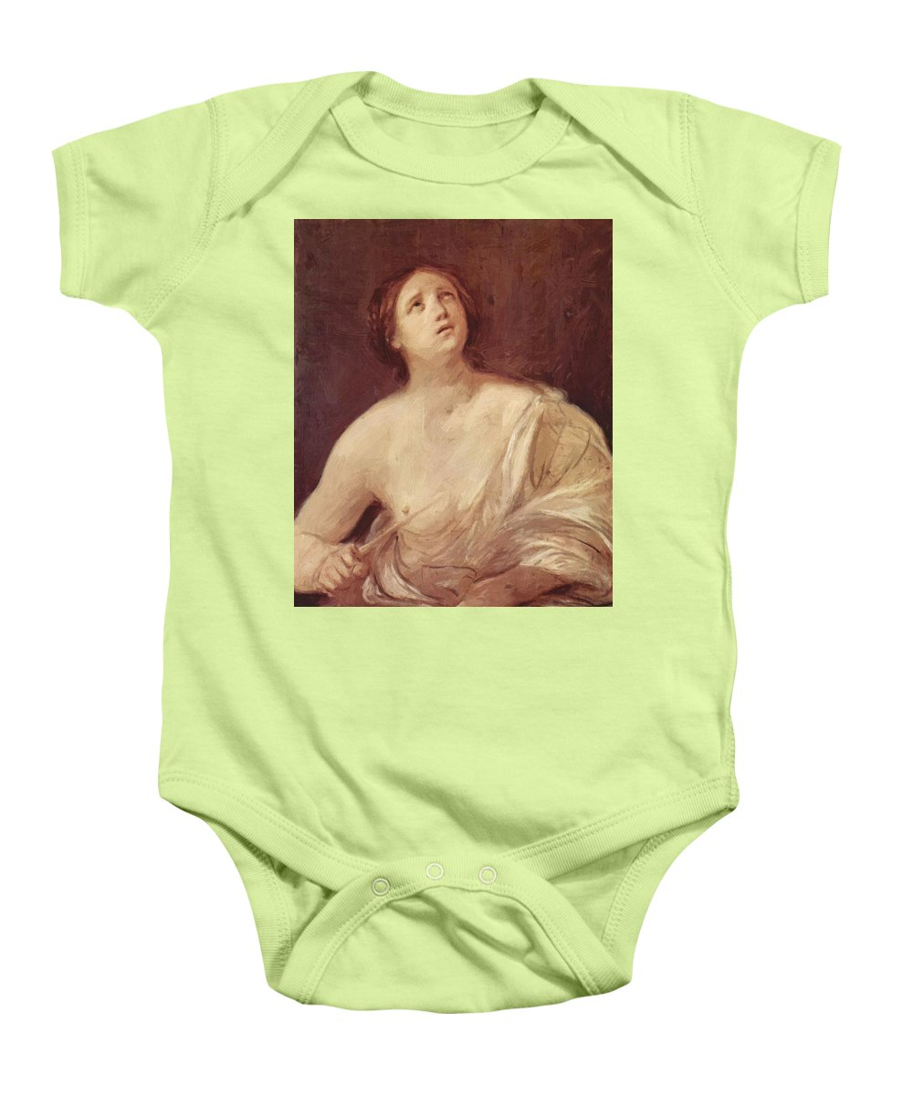 Suicide Baby Onesie featuring the painting Suicide Of Lucretia 1642 by Reni Guido