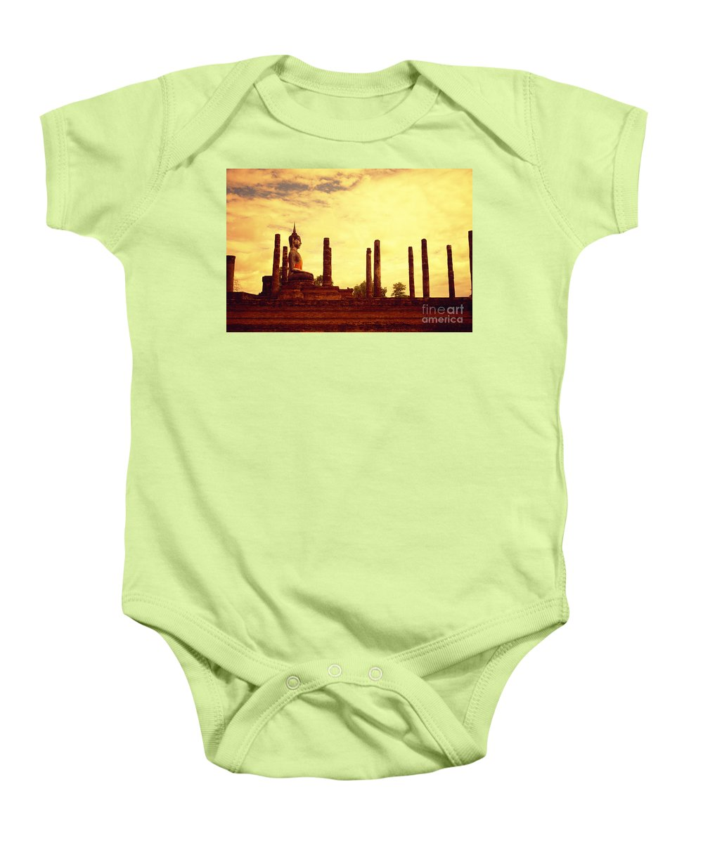Ancient Baby Onesie featuring the photograph Sukothai Temple by Kyle Rothenborg - Printscapes