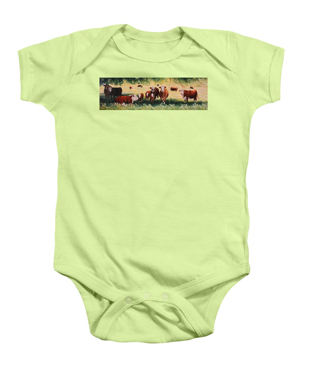 Hereford Baby Onesie featuring the painting Summer Pastures by Toni Grote