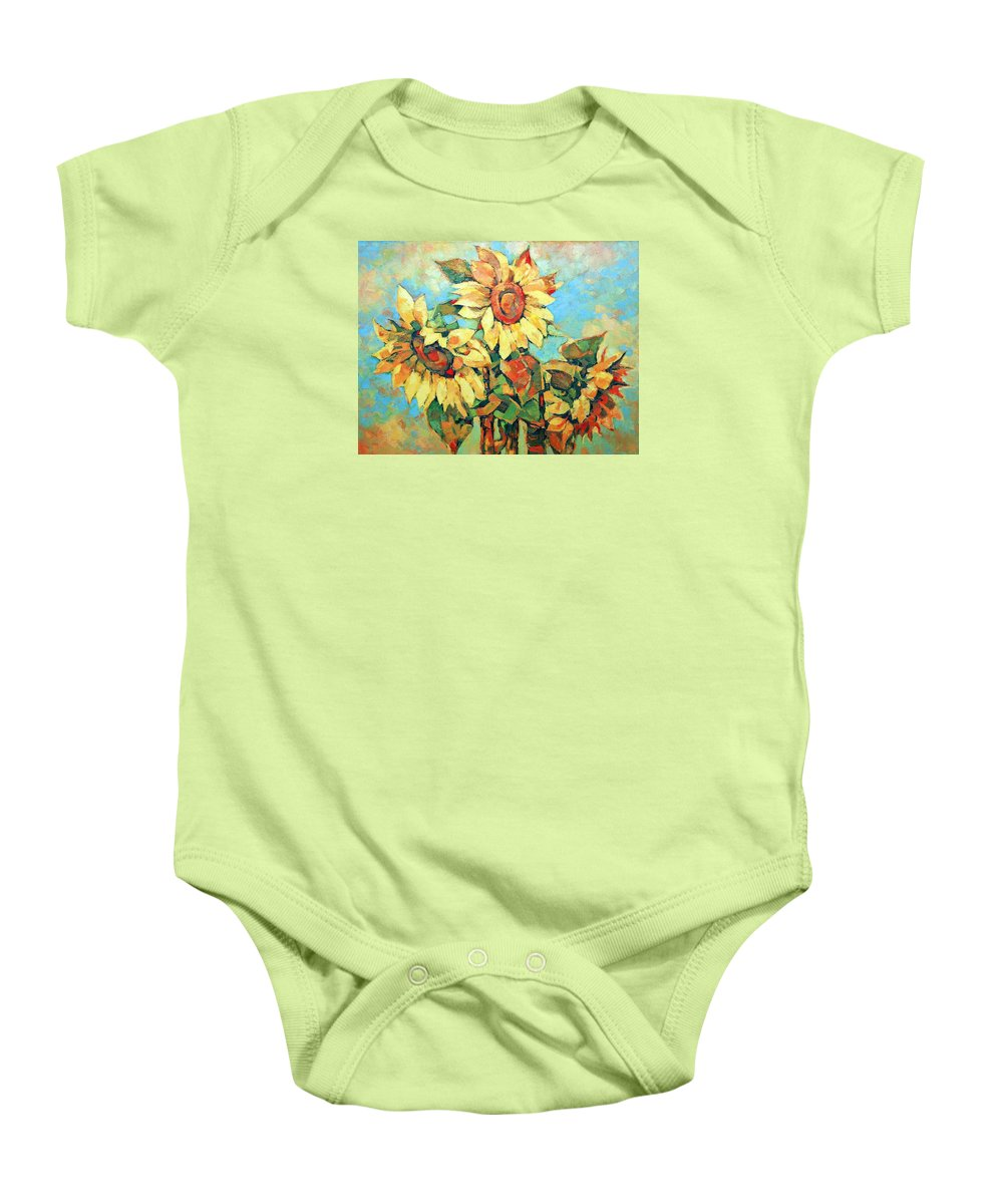 Sunflowers Baby Onesie featuring the painting Sunflowers by Iliyan Bozhanov