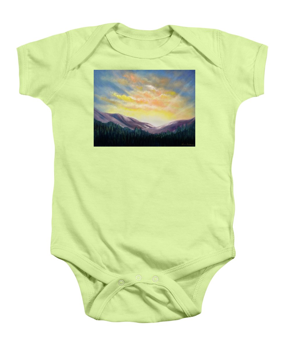 Mountains Baby Onesie featuring the painting Sunrise In The Mountains by Gina De Gorna